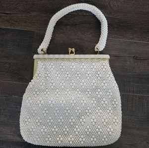 Vintage White Beaded Handbag